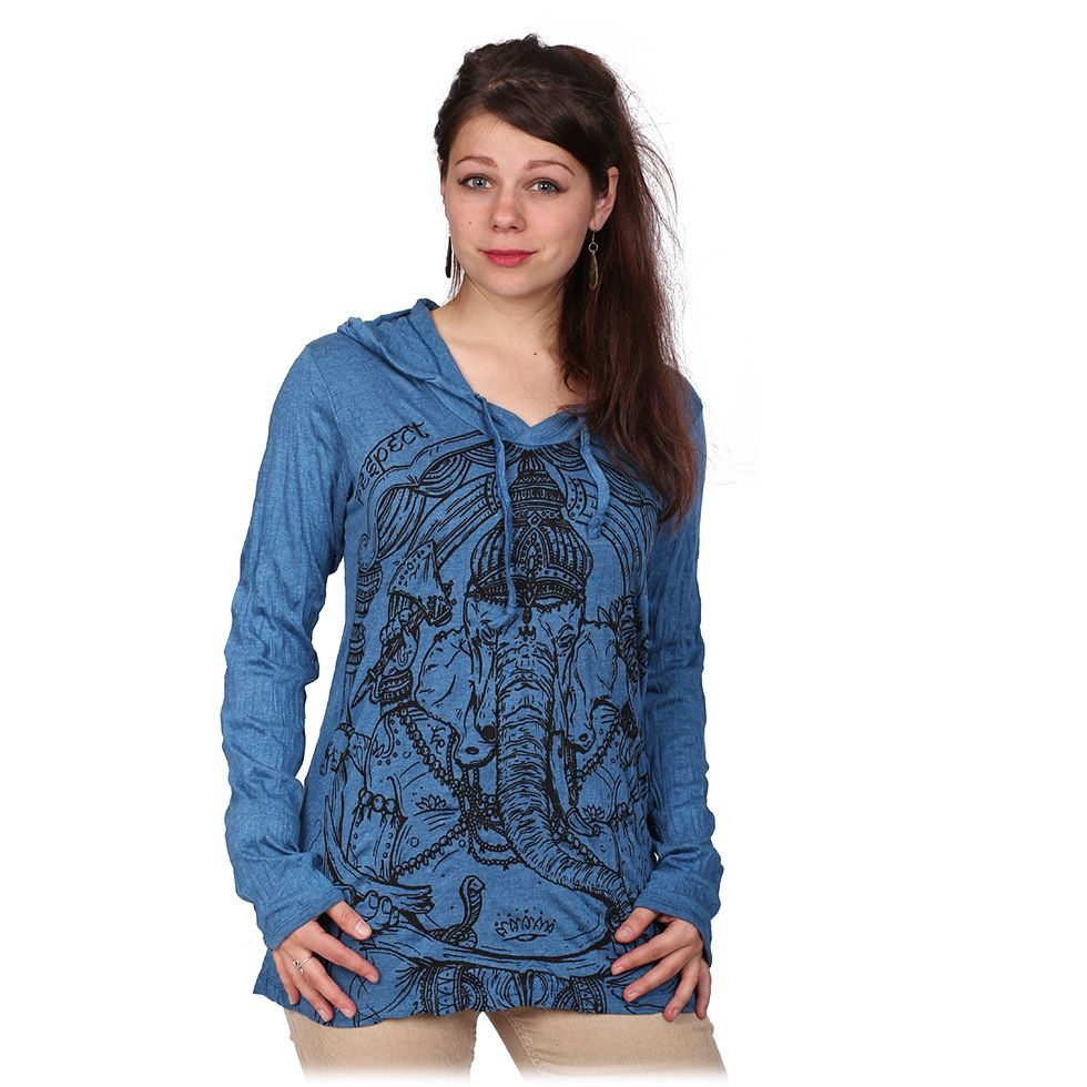 Women's hooded t-shirt Sure Angry Ganesh Turquoise