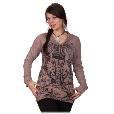 Women's hooded t-shirt Sure Angry Ganesh Brown