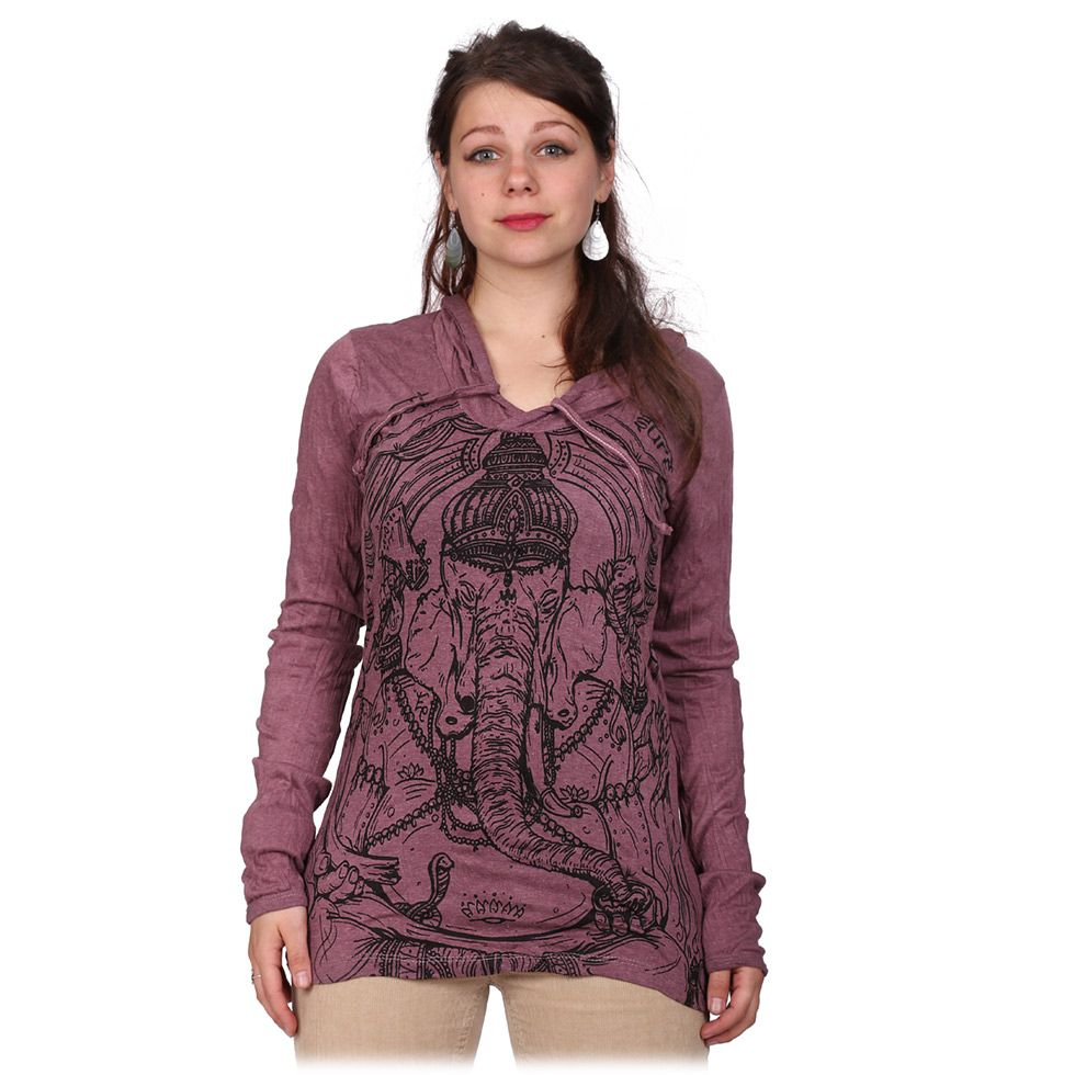 Women's hooded t-shirt Sure Angry Ganesh Purple