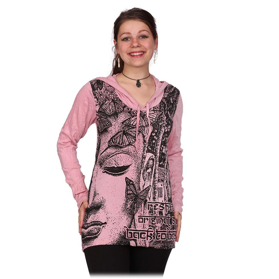 Women's hooded t-shirt Sure Buddha's Butterflies Pink