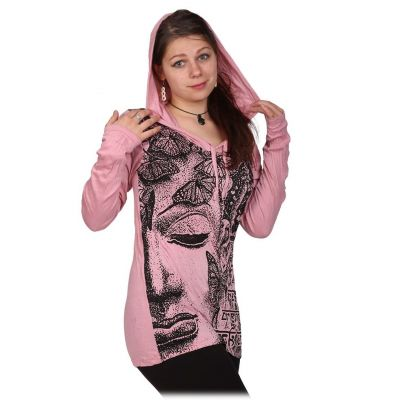 Women's hooded t-shirt Sure Buddha's Butterflies Pink
