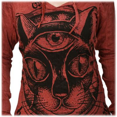 Women's hooded t-shirt Sure Cat's Insight Bordeaux