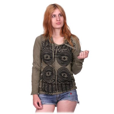 Women's hooded t-shirt Sure Hamsa Khaki