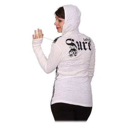 Women's hooded t-shirt Sure Buddha's Butterflies White