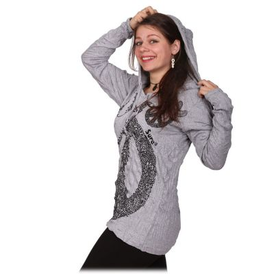 Women's hooded t-shirt Sure Dove of Peace Grey