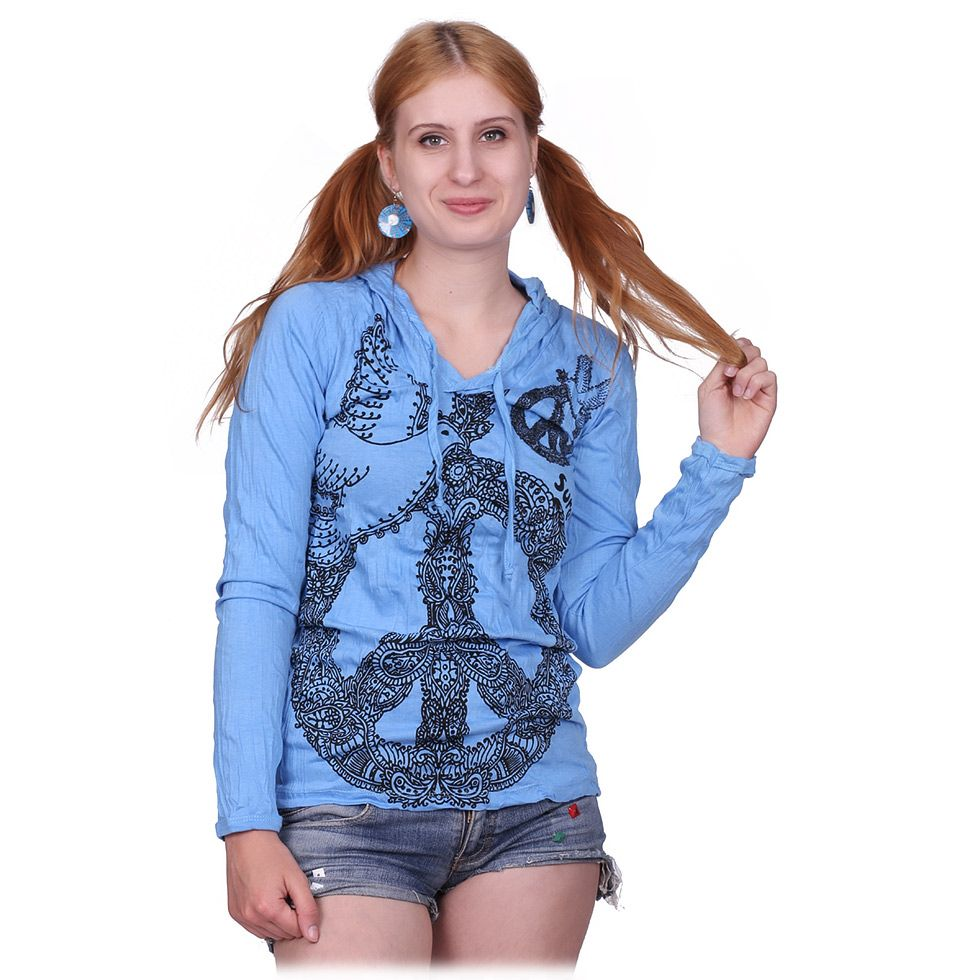 Women's hooded t-shirt Sure Dove of Peace Blue