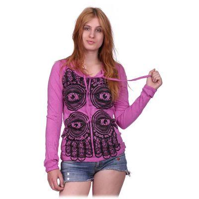 Women's hooded t-shirt Sure Hamsa Pink