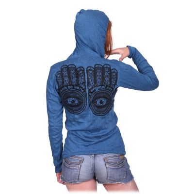 Women's hooded t-shirt Sure Hamsa Turquoise