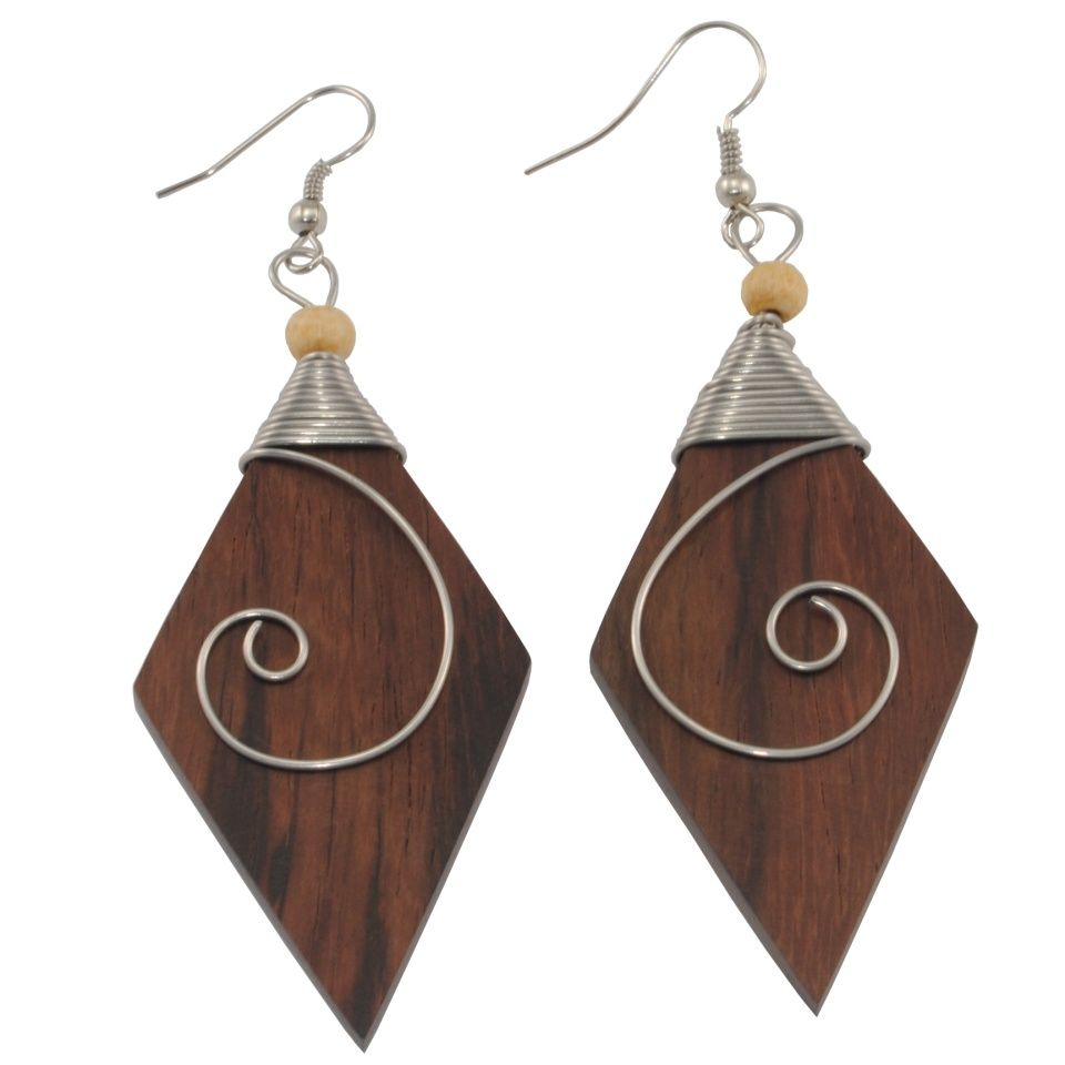 Steel decorated wooden earrings Ancient beauty - rhombus