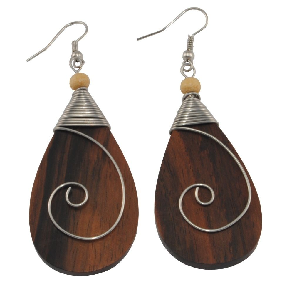 Steel decorated wooden earrings Ancient beauty - tear drop Indonesia