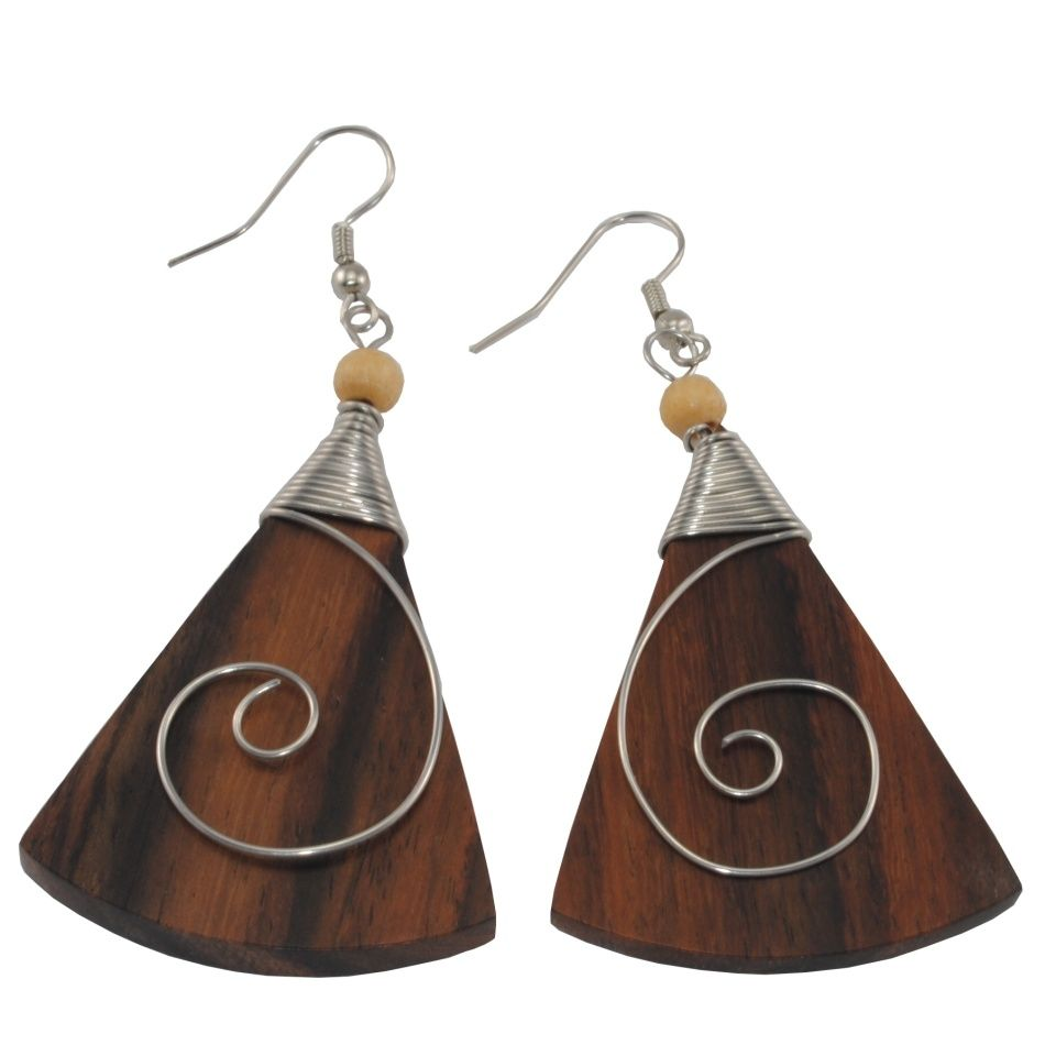 Steel decorated wooden earrings Ancient beauty - triangle Indonesia