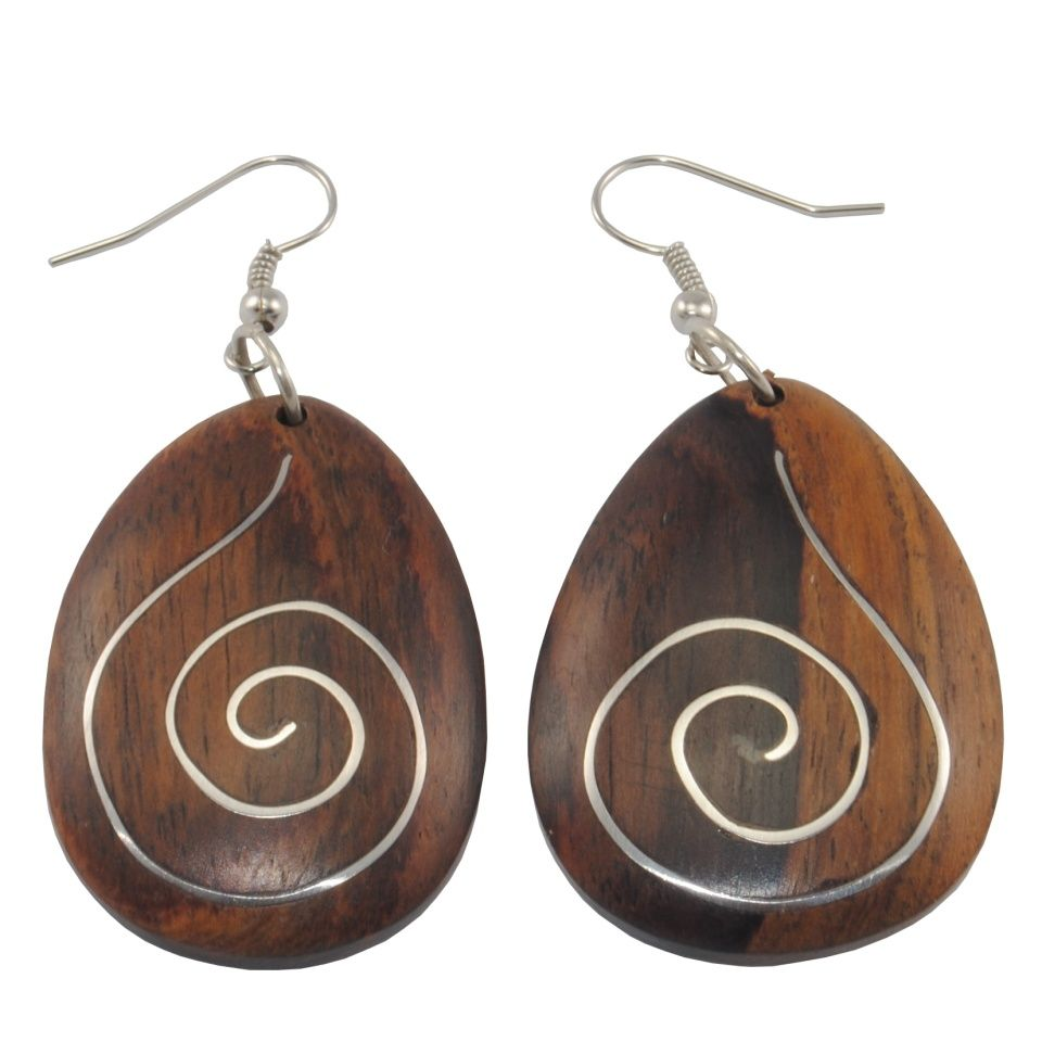 Steel decorated wooden earrings Wooden harmony Indonesia