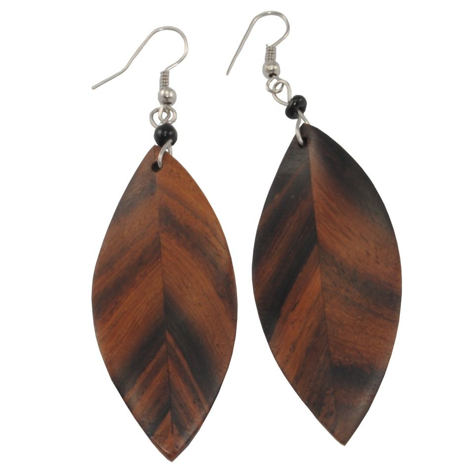 Wooden earrings Wooden leaves Indonesia