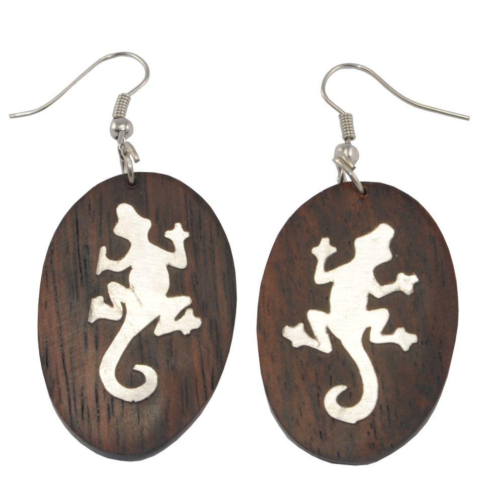 Steel decorated wooden earrings Lizard's imprint Indonesia