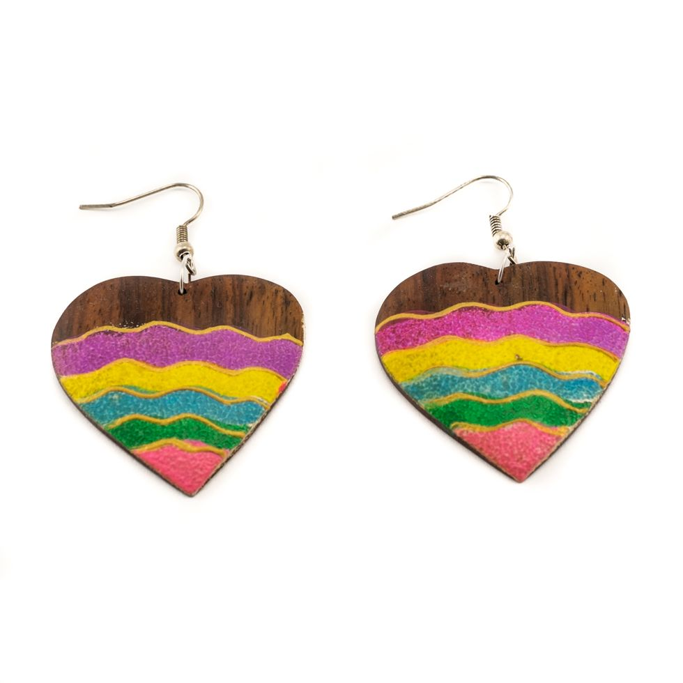 Painted wooden earrings Energetic love