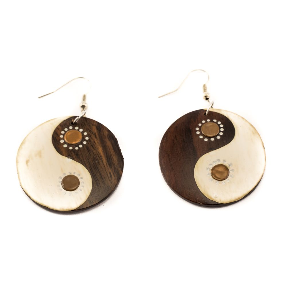 Painted wooden earrings Yin&Yang - brown