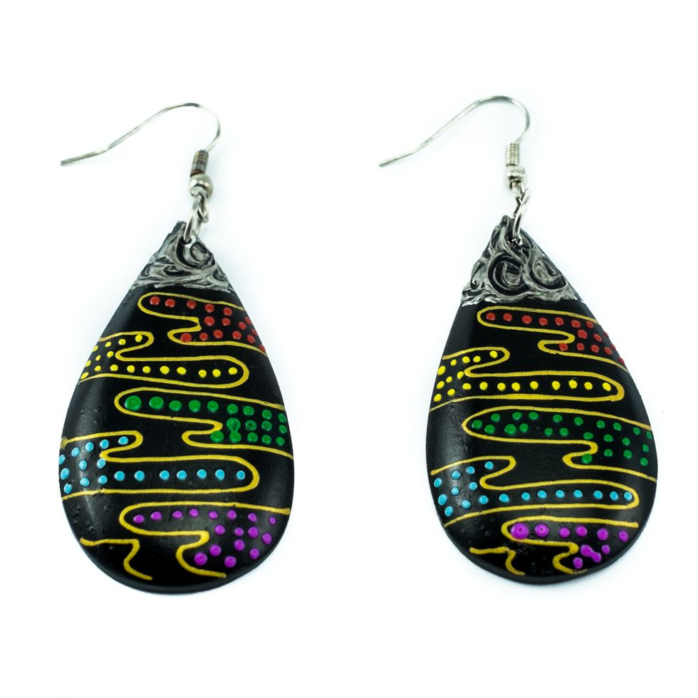 Painted wooden earrings Colourful puddle