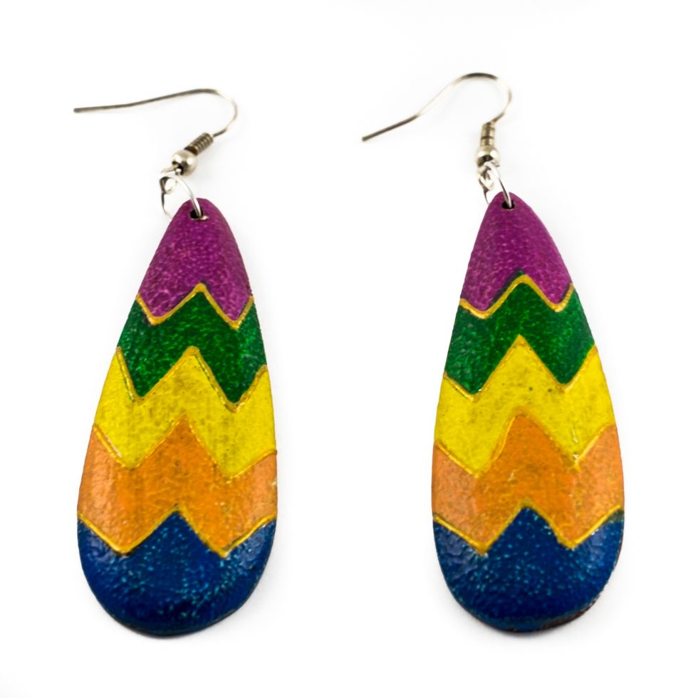 Painted wooden earrings Colour geometry