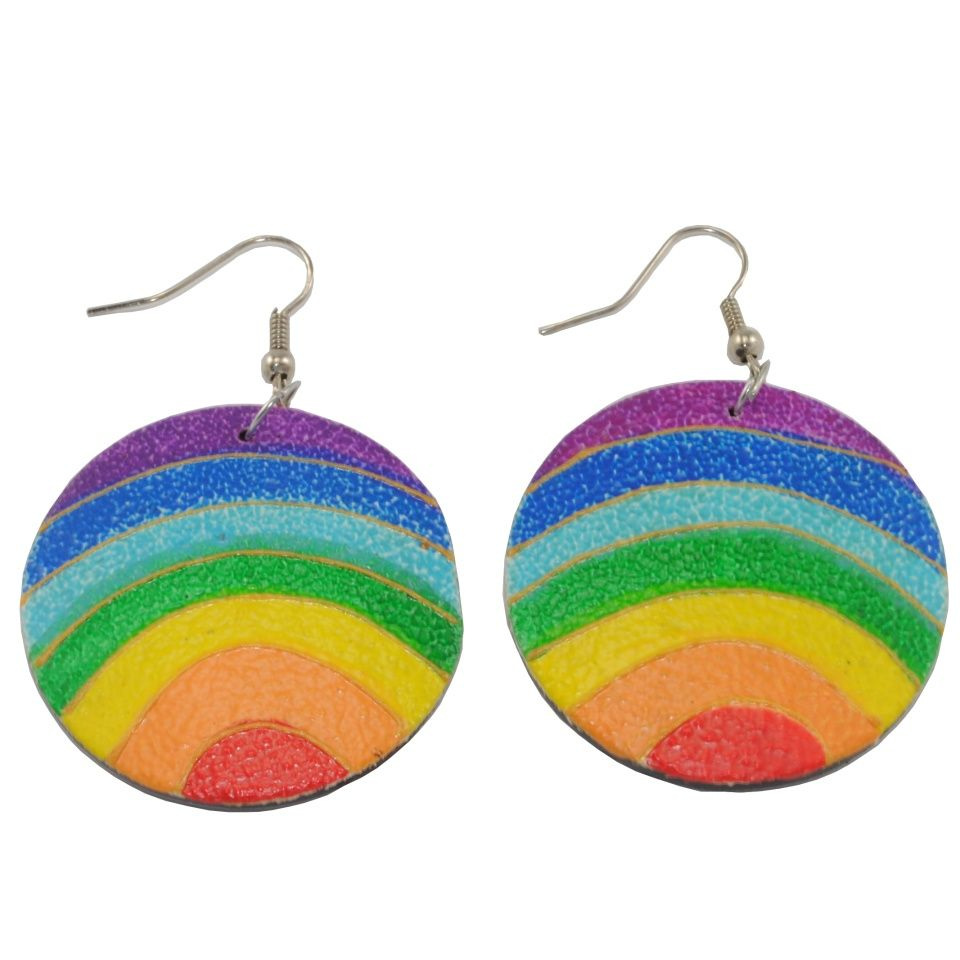 Painted wooden earrings Coloured Ball