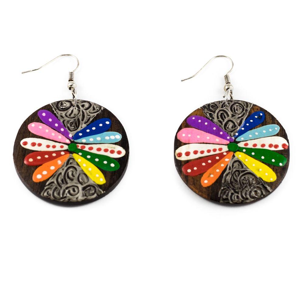 Painted wooden earrings Wild flower