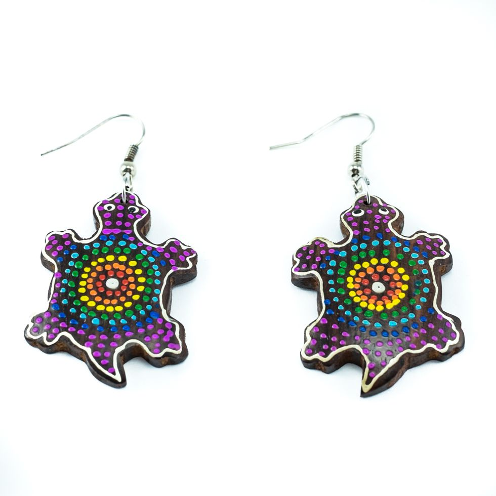 Painted wooden earrings Rainbow tortoise