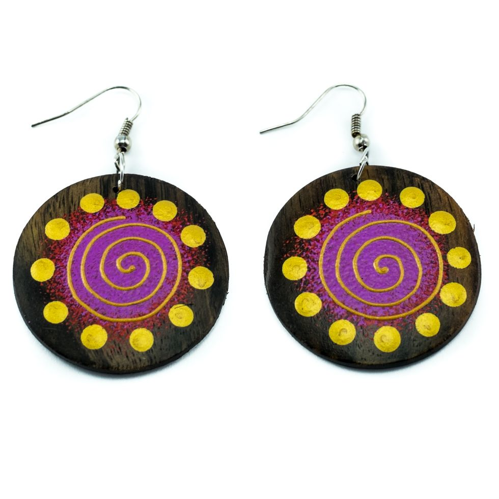 Painted wooden earrings Galaxy
