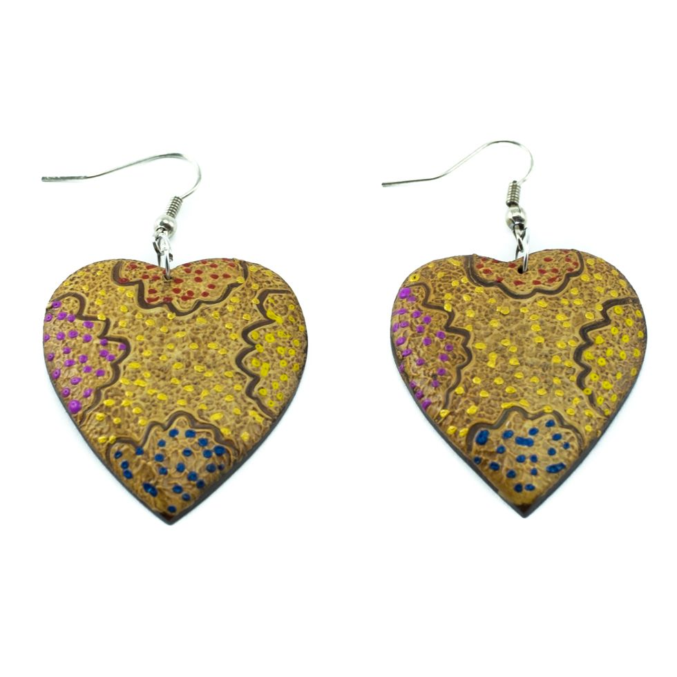 Painted wooden earrings Hot love