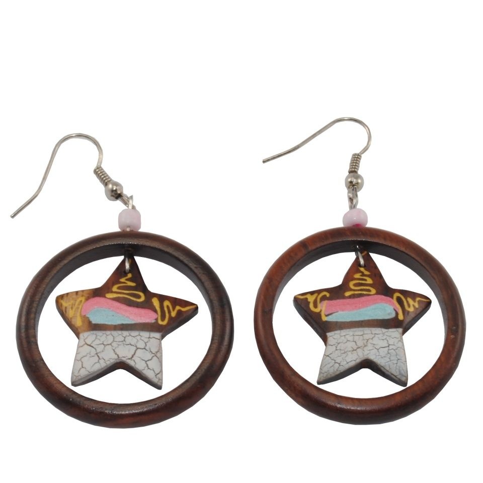 Painted wooden earrings Wishing star