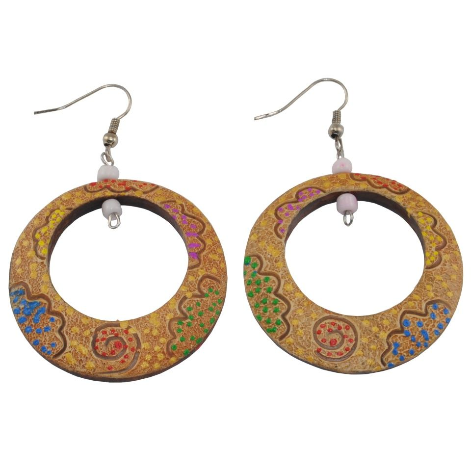 Painted wooden earrings Sparkling vision