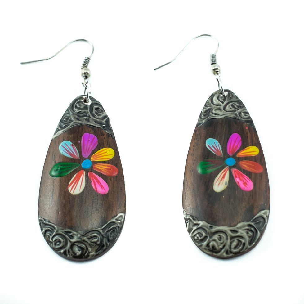 Painted wooden earrings Candy flower