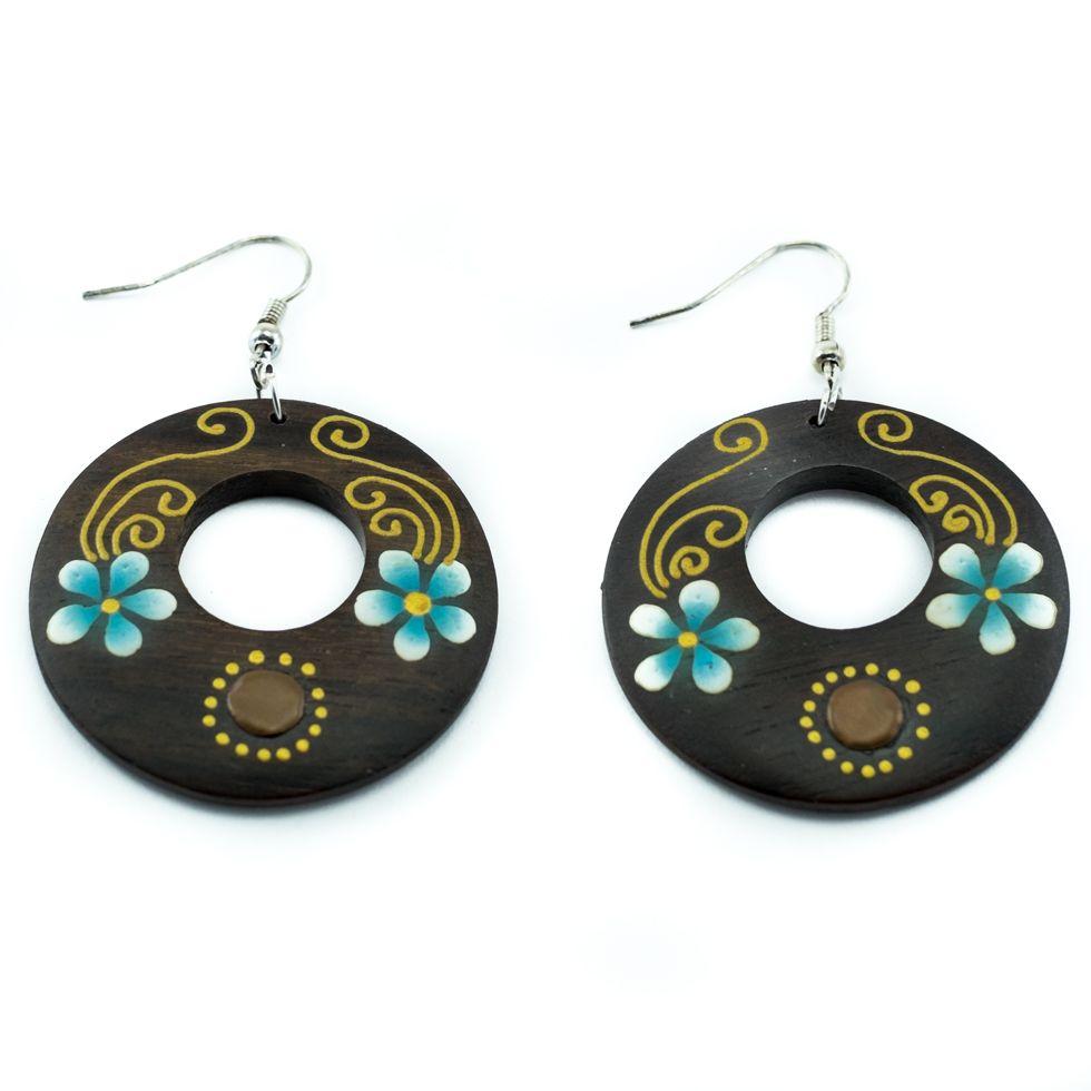 Painted wooden earrings Flower twins
