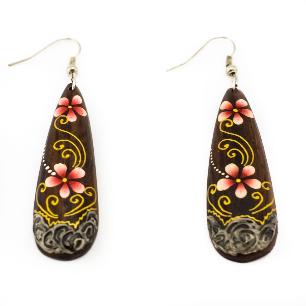 Painted wooden earrings Love blossoms