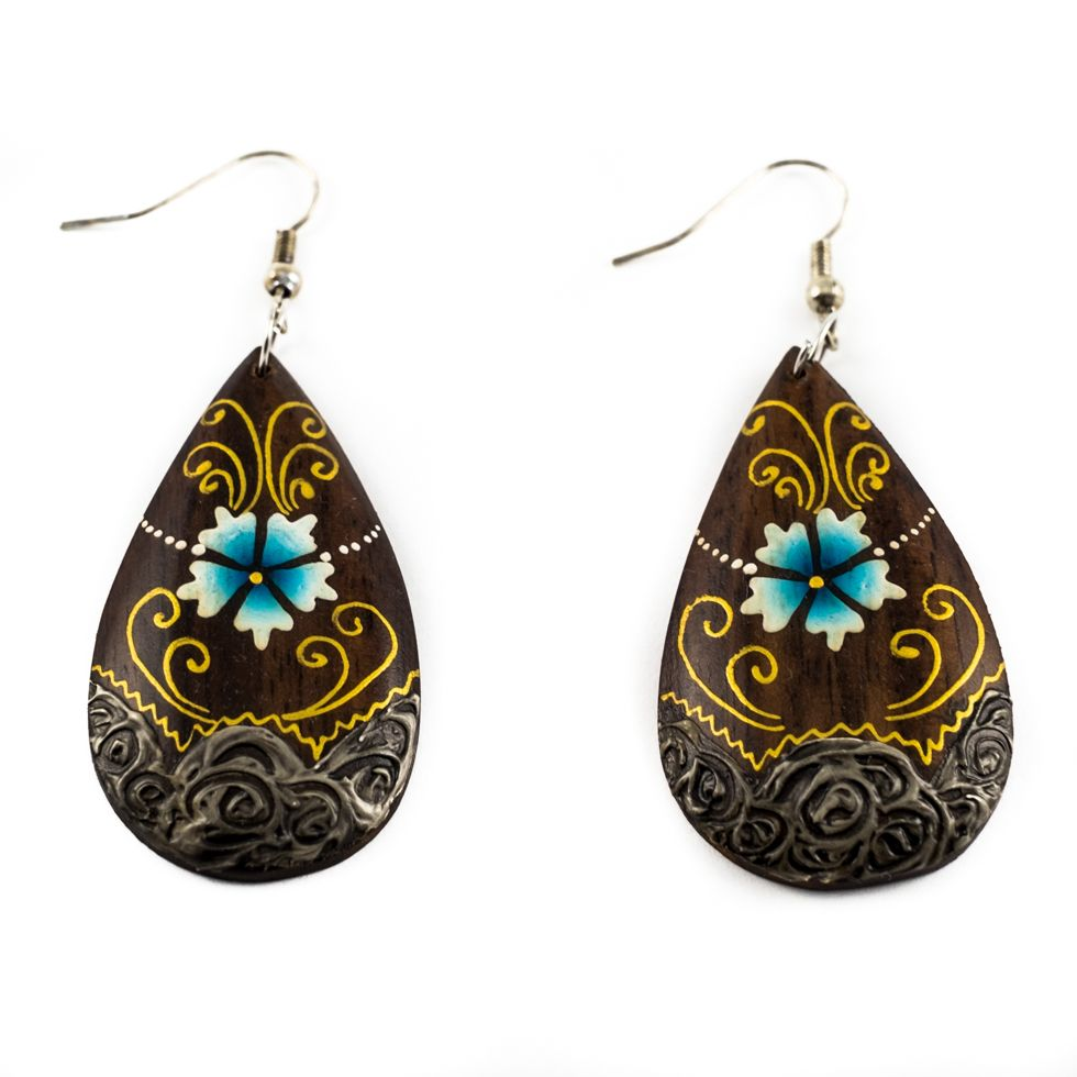 Painted wooden earrings Aphrodite's flower