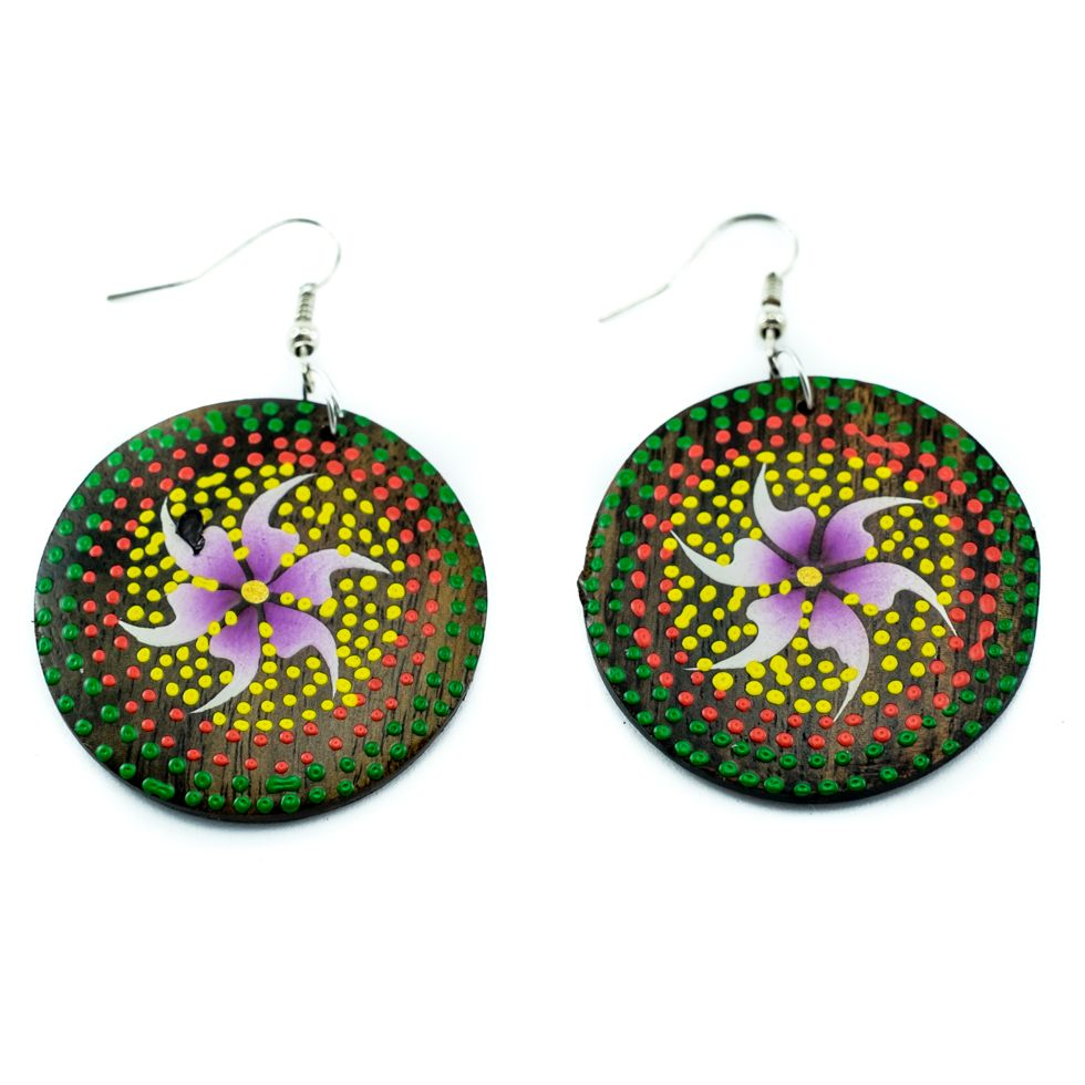 Painted wooden earrings Purple Lily
