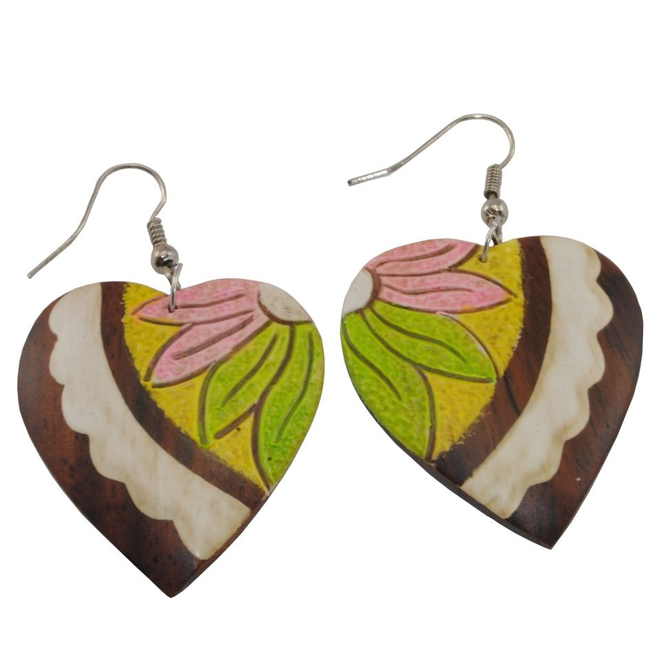 Painted wooden earrings Shy love