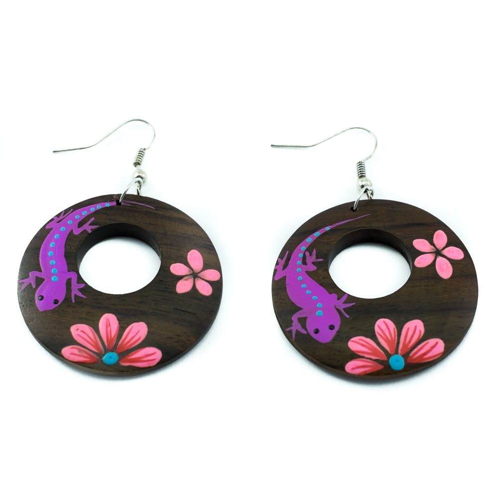 Painted wooden earrings Romantic lizard