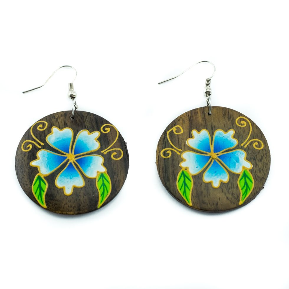 Painted wooden earrings Florescence