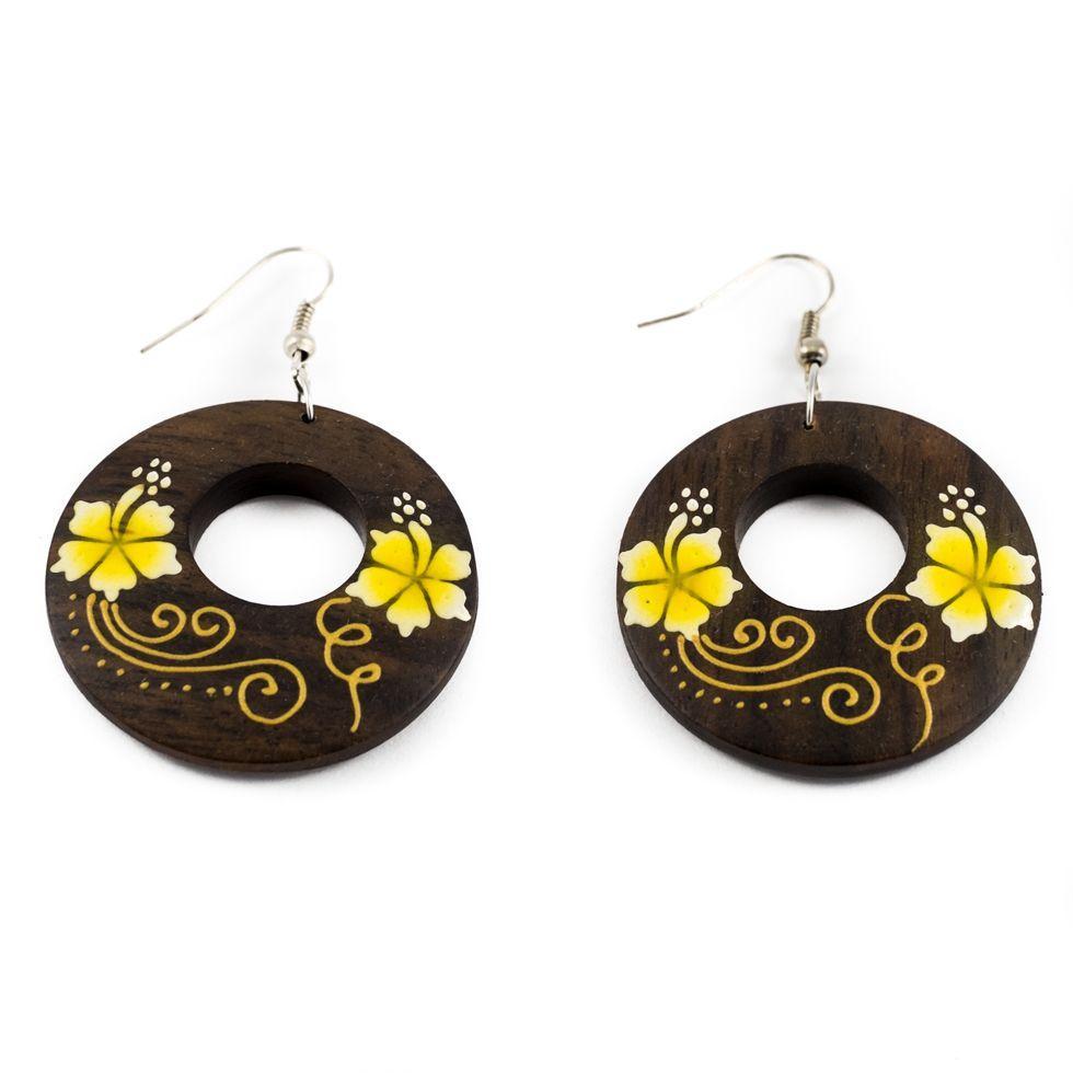 Painted wooden earrings Cute flowers - yellow