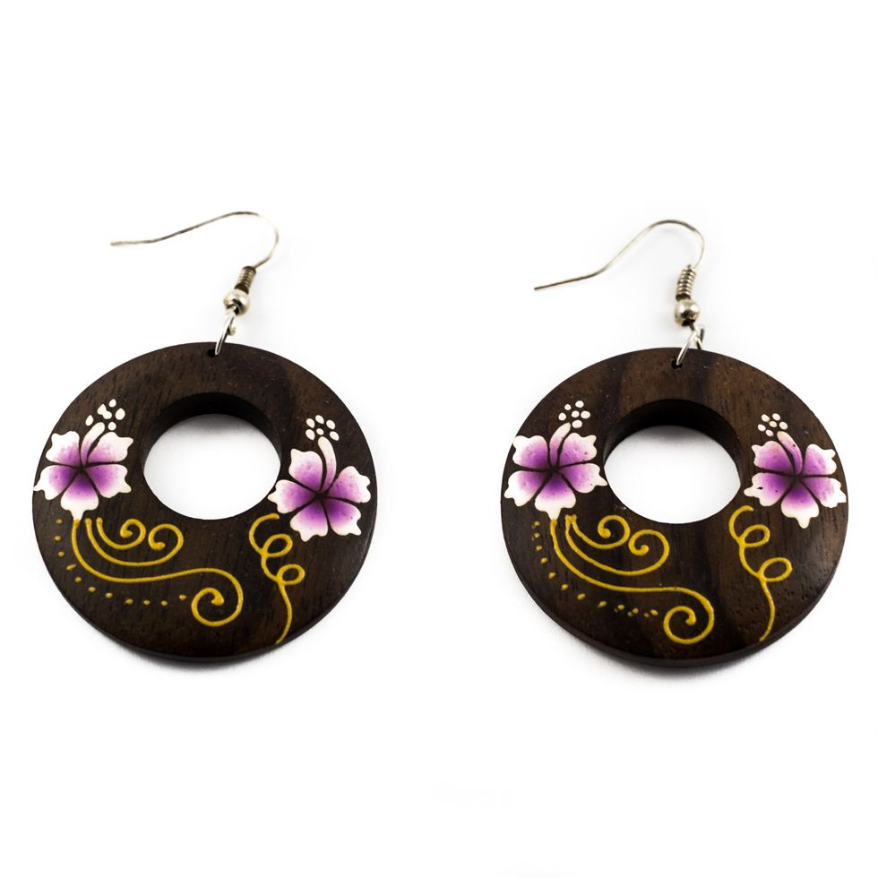 Painted wooden earrings Cute flowers - purple