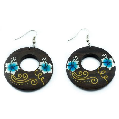 Earrings Cute flowers - blue
