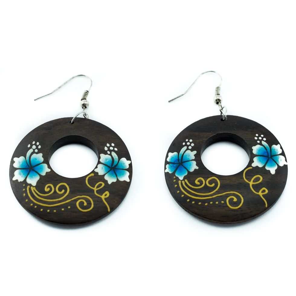 Painted wooden earrings Cute flowers - blue