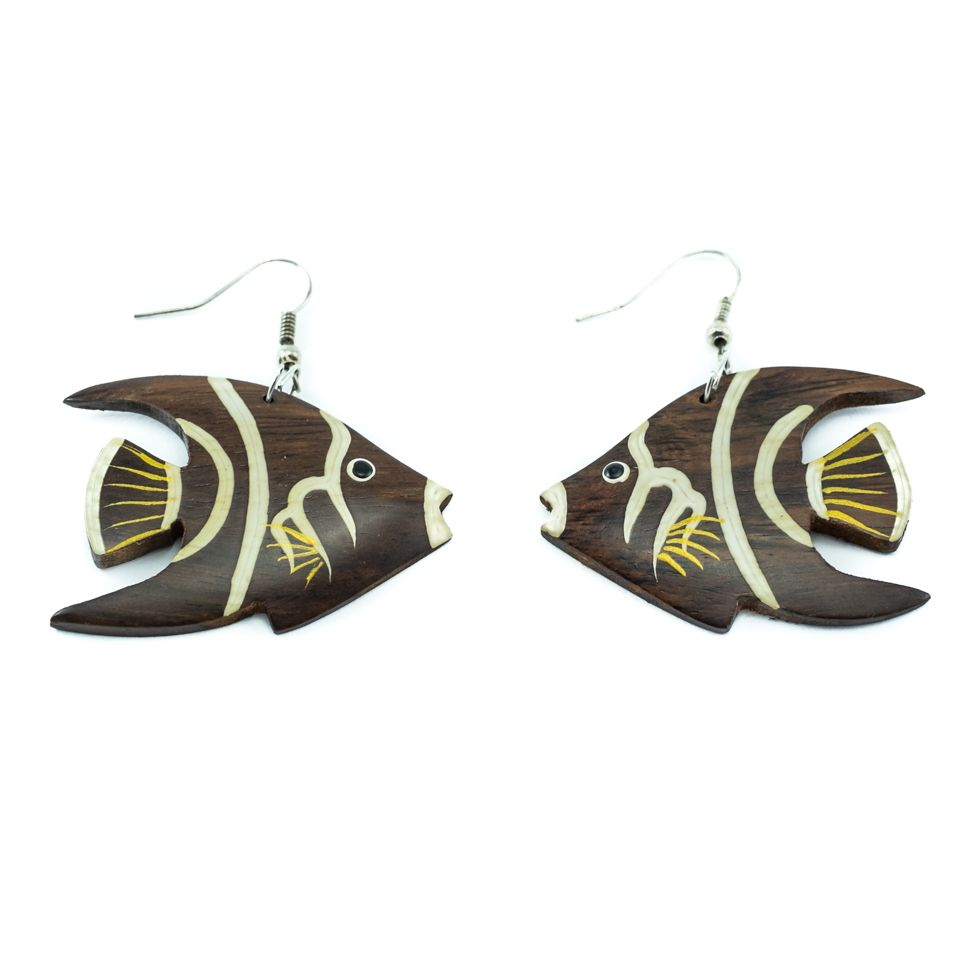 Painted wooden earrings Brown Angelfish