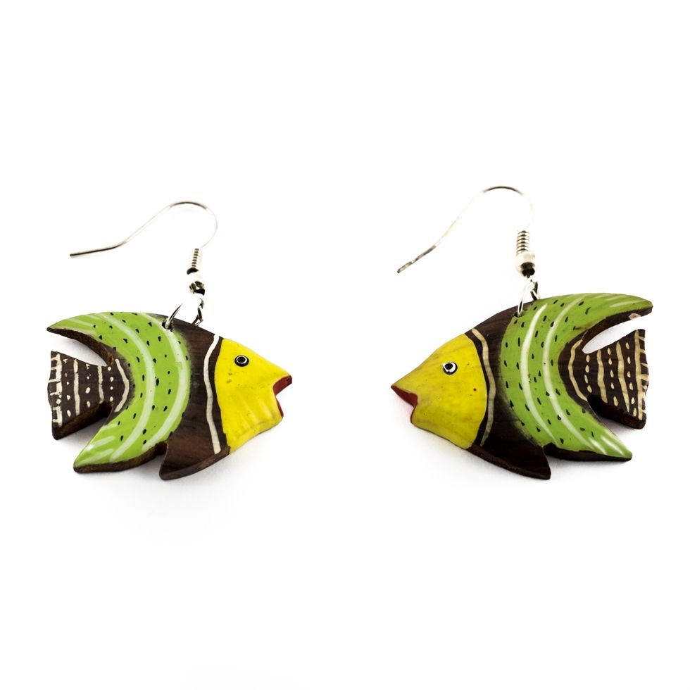 Painted wooden earrings Yellow and green Angelfish