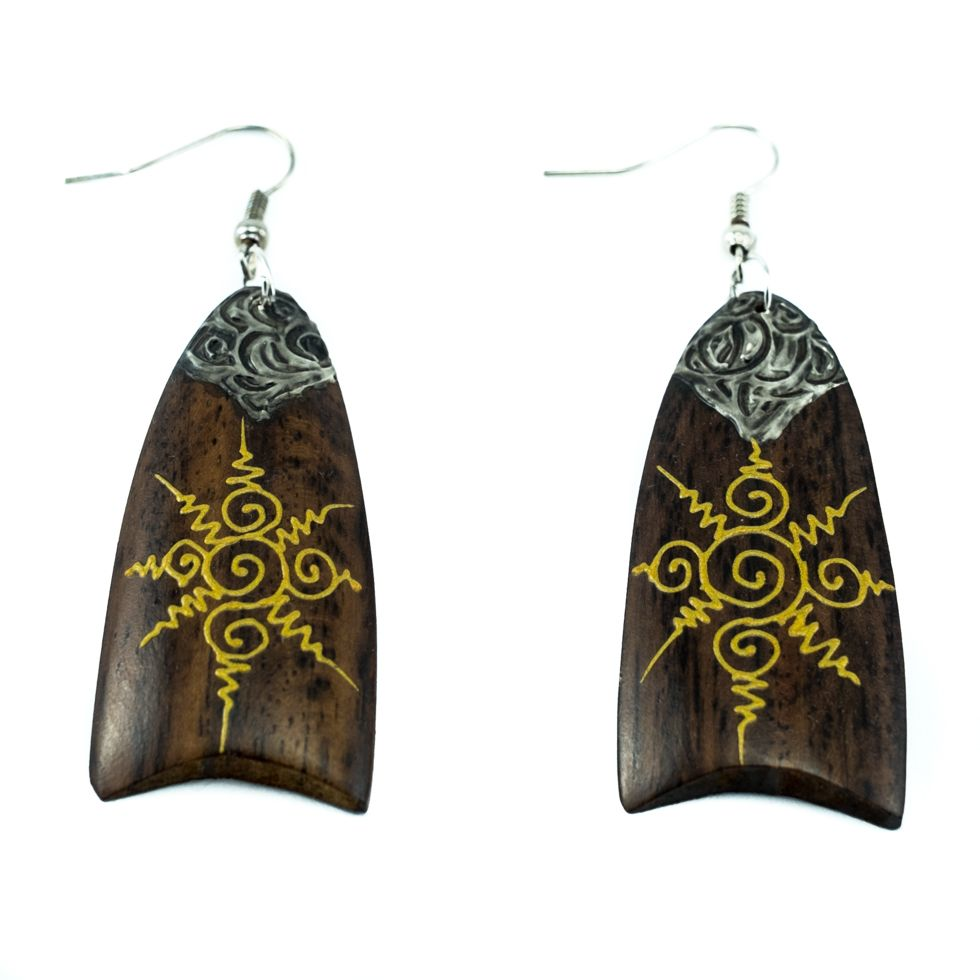 Painted wooden earrings Sun spirals