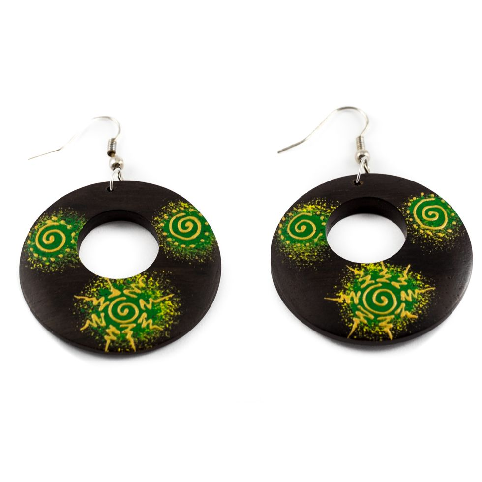 Painted wooden earrings Dreaming