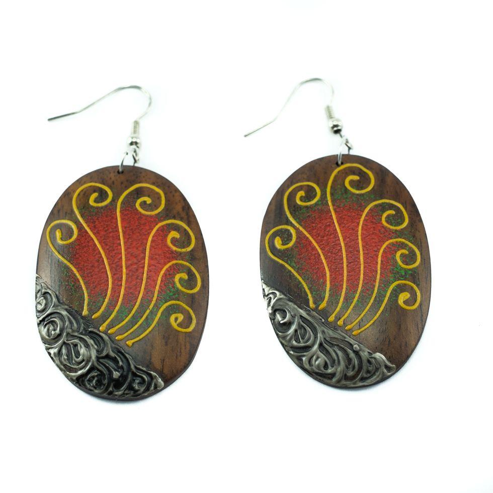 Painted wooden earrings Fan