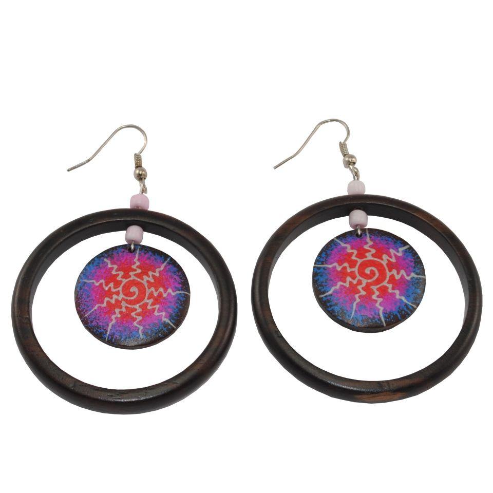 Painted wooden earrings Big Bang