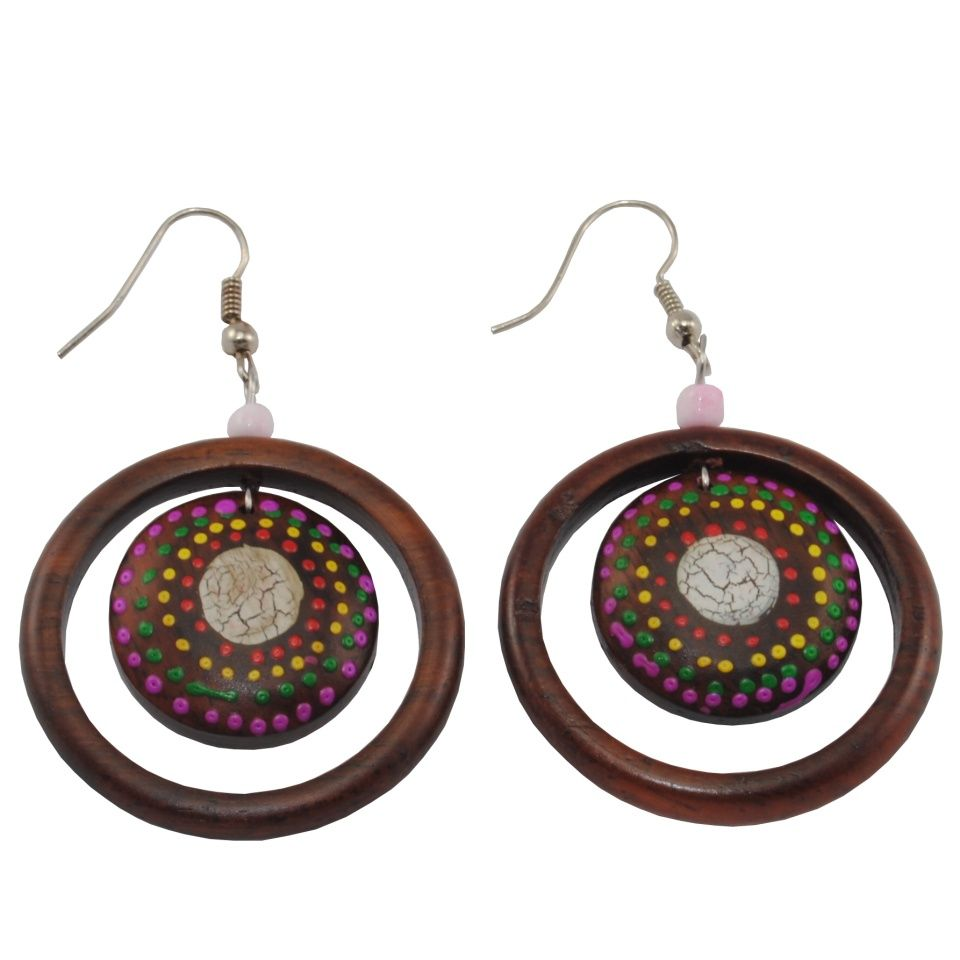 Painted wooden earrings Space tunnel