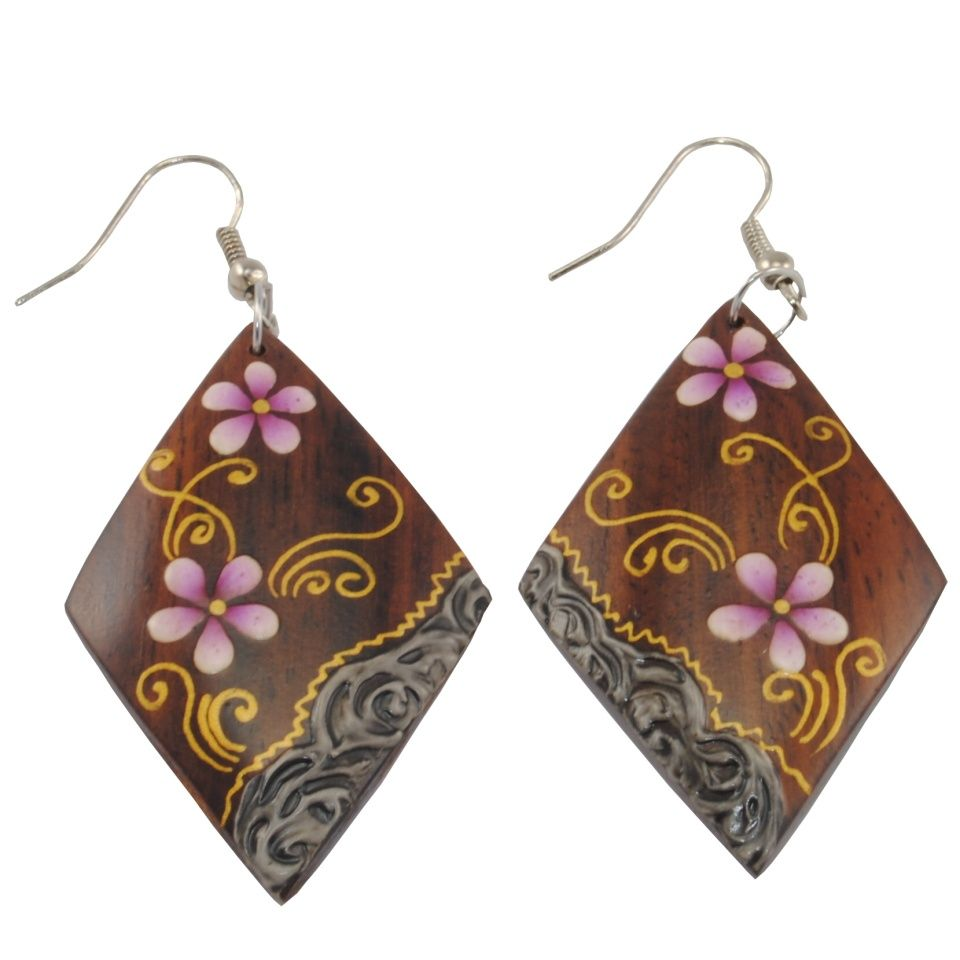 Painted wooden earrings Viola odorata