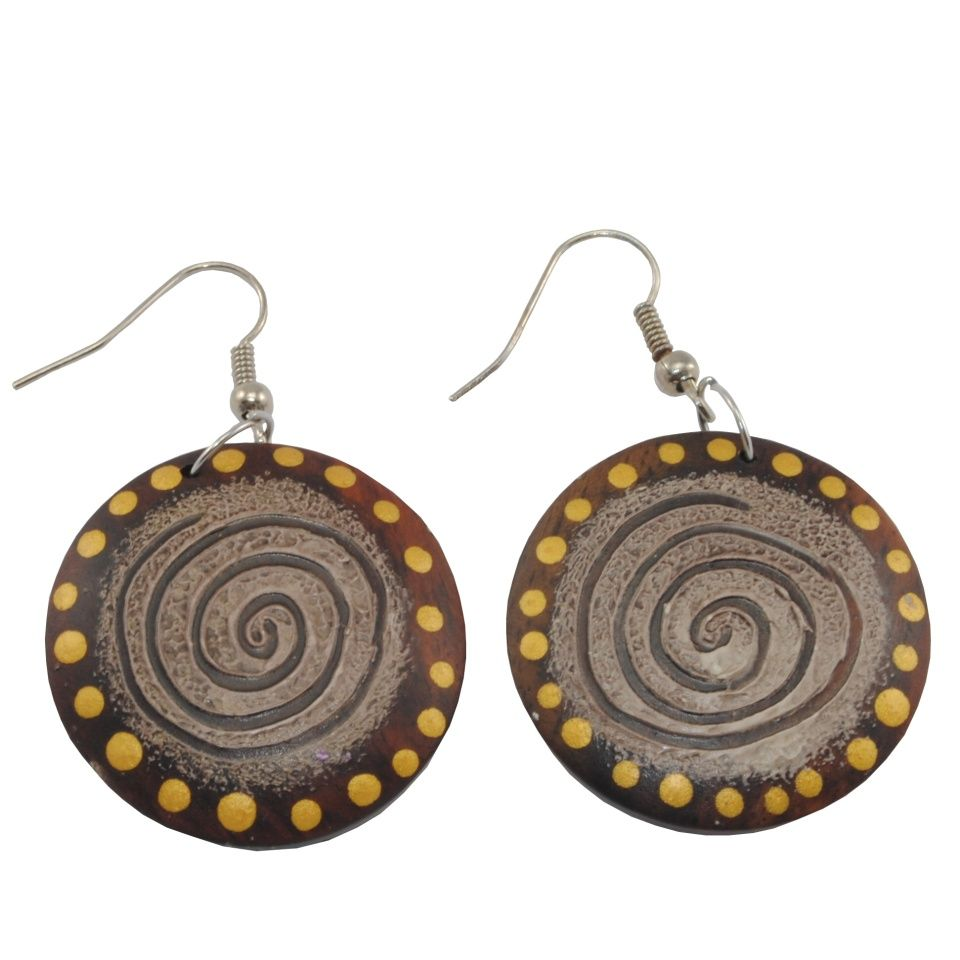 Painted wooden earrings Distant galaxy